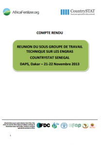 2013 CountrySTAT AfricaFertilizer.org GTTE Senegal rapport réunion technique 21-22 Nov 2013